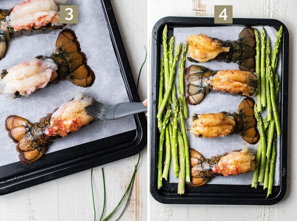 Step 3 shows to brush the lobster tails with a seasoned butter, and step 4 shows to add the tails and asparagus to a baking tray.