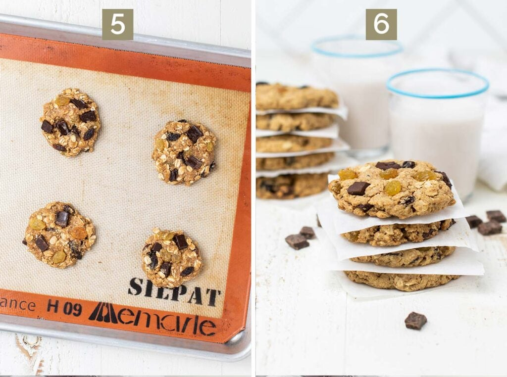 Step 5 shows scooping the dough onto a baking tray, and step 6 shows baking the cookies.