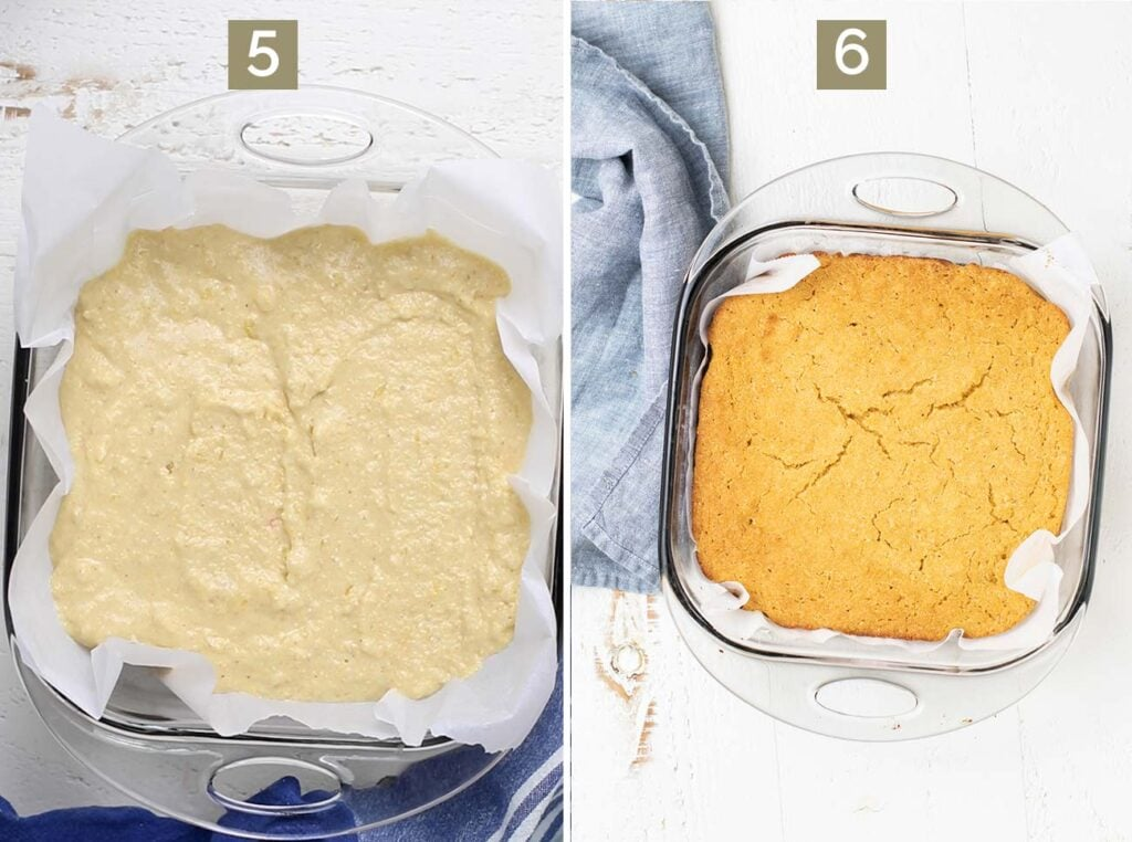 Step 5 shows to add the gluten free cornbread batter to a baking dish, and step 6 shows to bake the cornbread until it's golden.