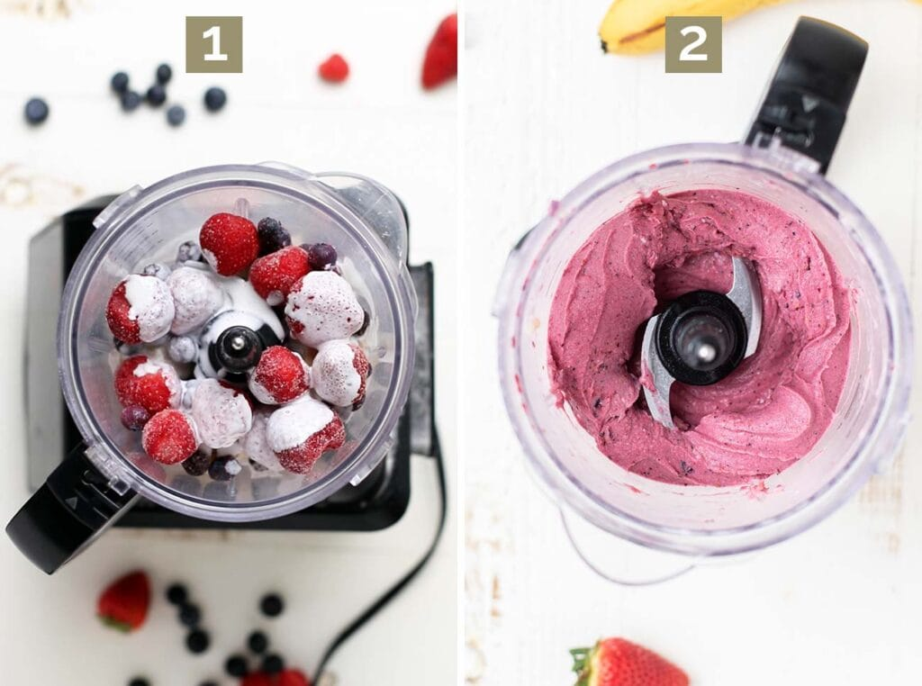 Step 1 shows adding bananas and berries and coconut milk to a food processor, and step 2 shows processing it until it's smooth.