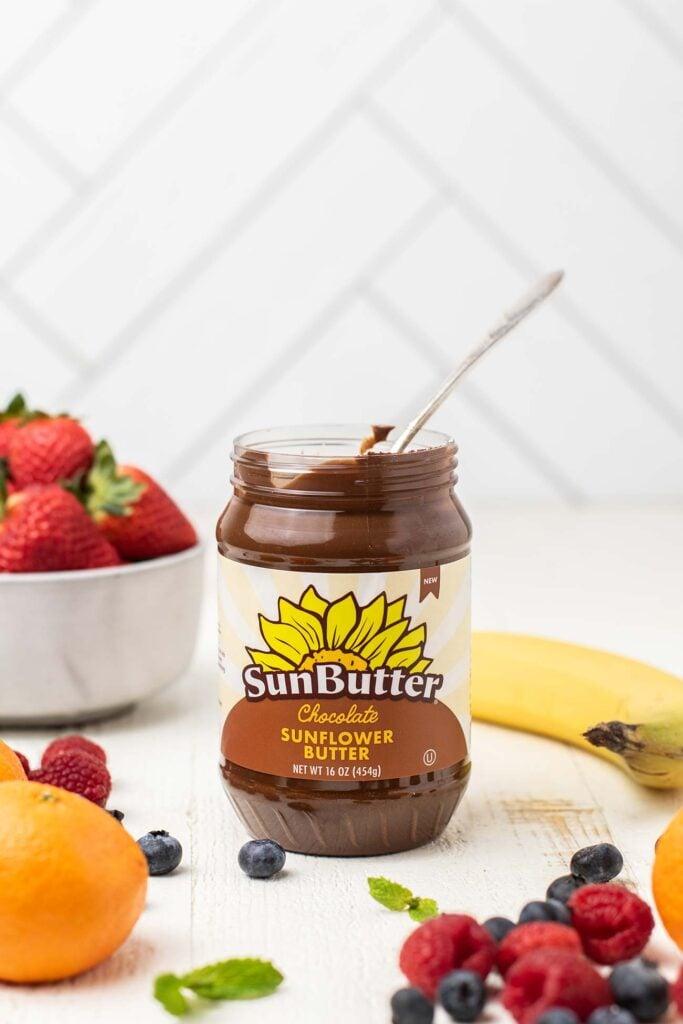 A jar of chocolate sunbutter.