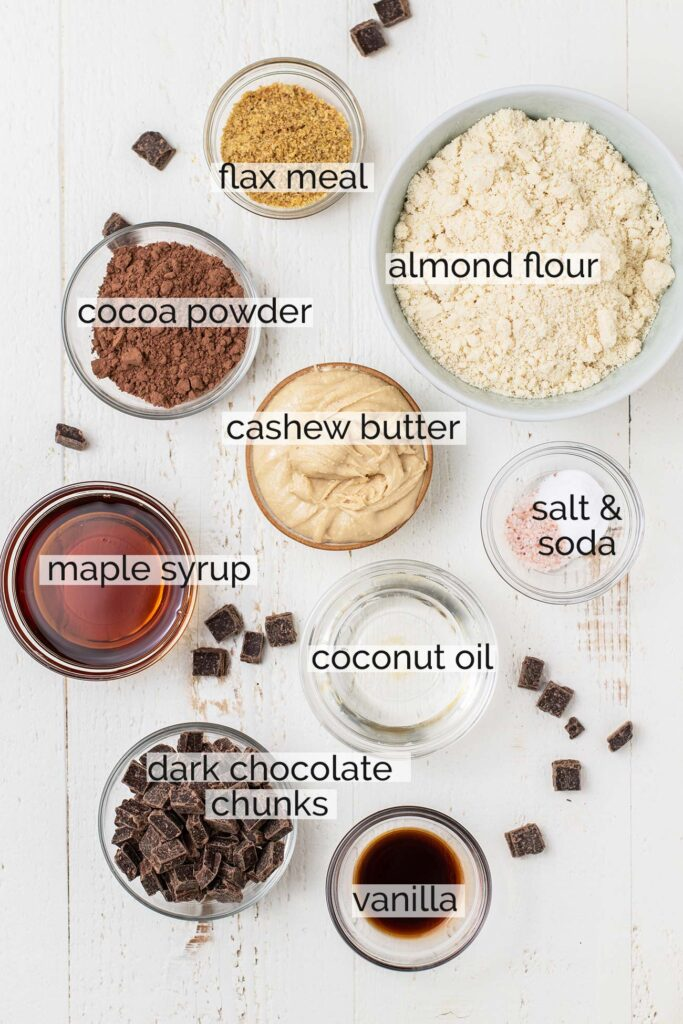 The ingredients for double chocolate chip cookies shown labeled.