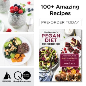 A cover for The Pegan Diet Cookbook by Michelle Miller.