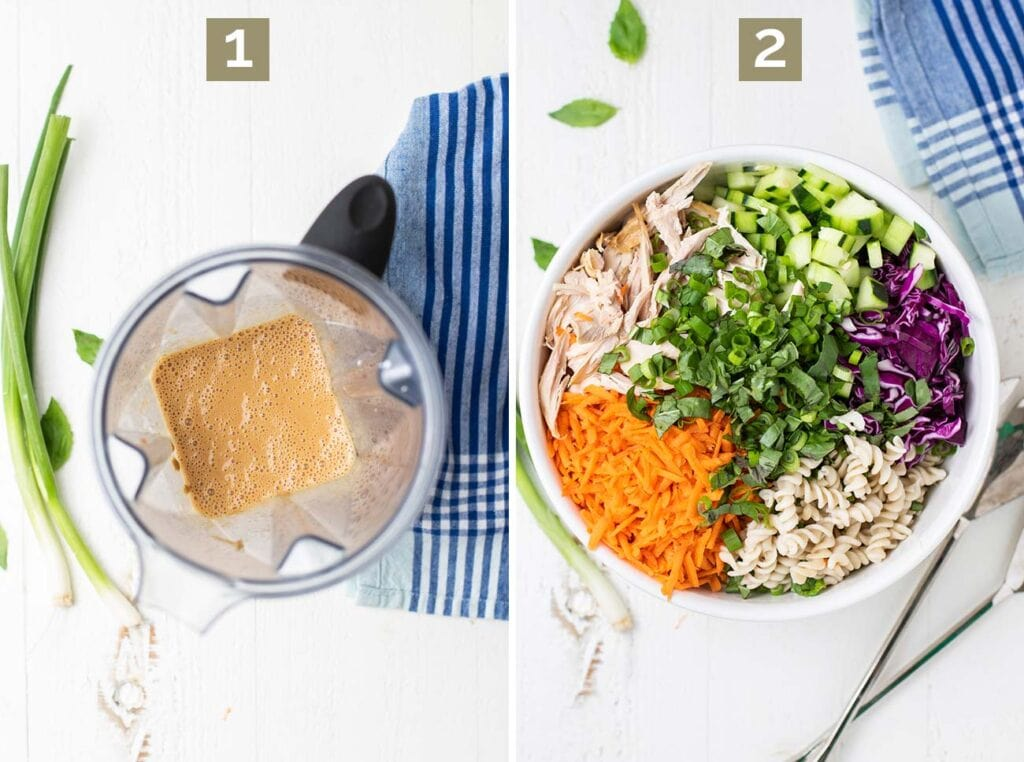 Step 1 shows blending the dressing, and step 2 shows layering the pasta, chicken, and veggies in a salad bowl.