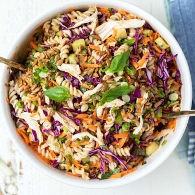A delicious chicken pasta salad with Asian style veggies and a Thai peanut sauce dressing.