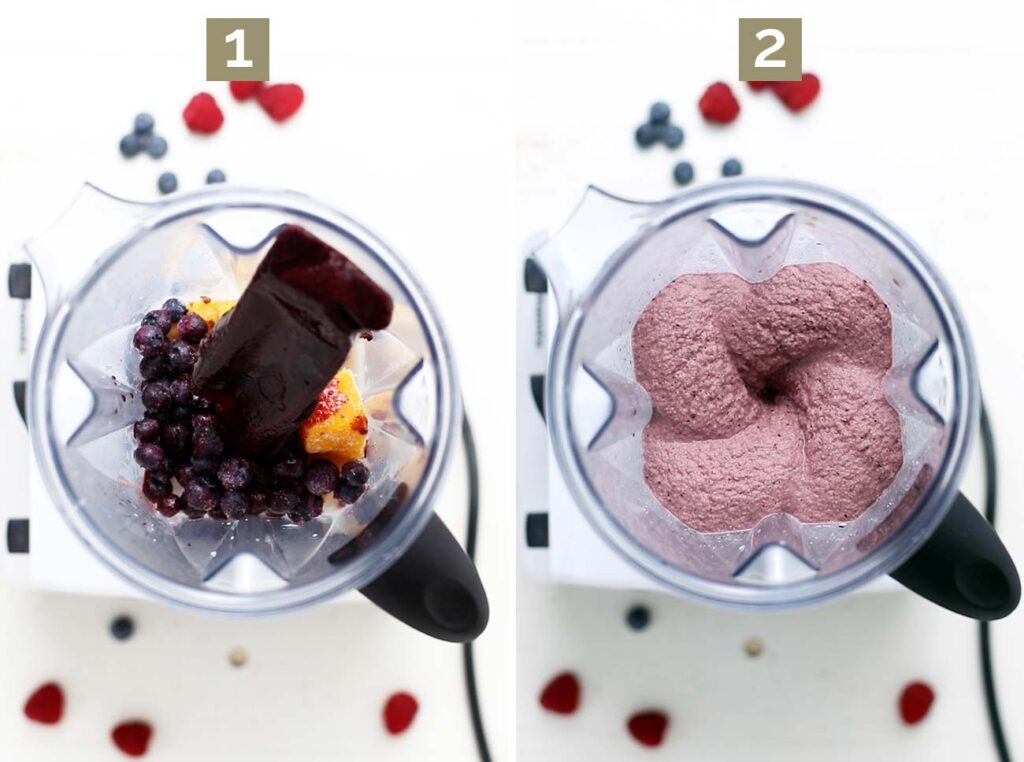 Step 1 is to add all the ingredients to a blender, and step 2 shows blending the smoothie until thick and creamy.