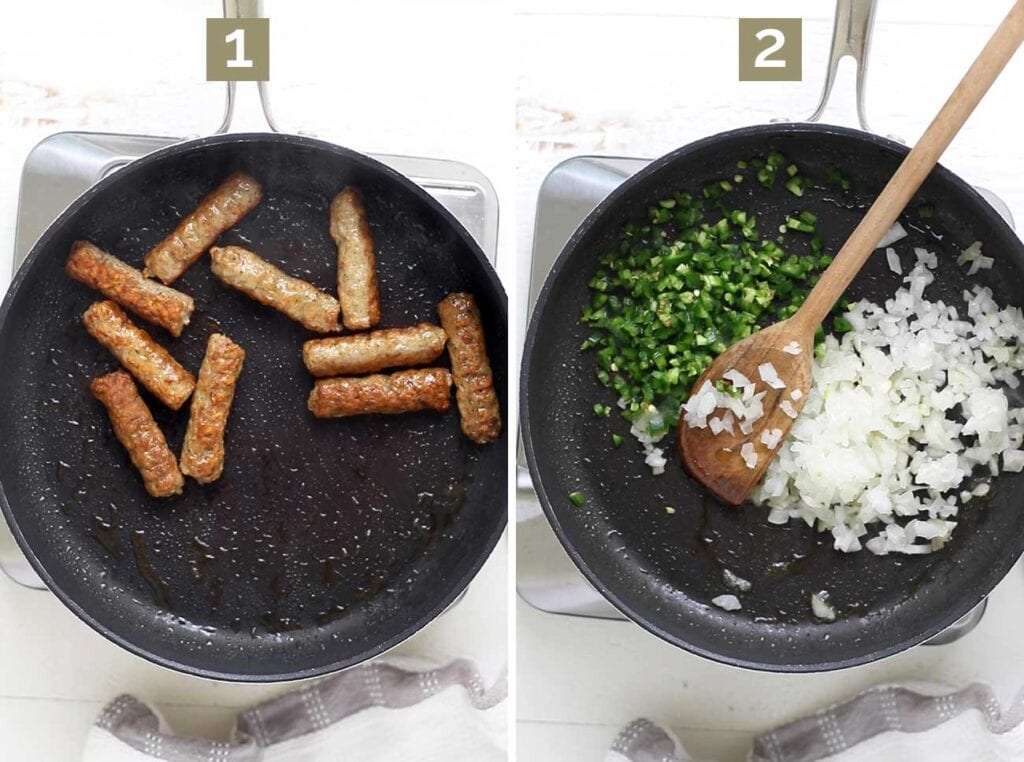 Step 1 shows browning the sausage, and step 2 shows sauteing onions and peppers.