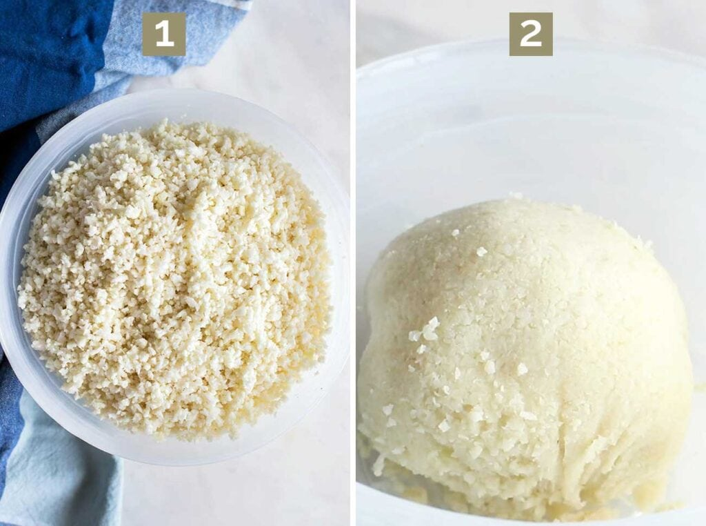 Step 1 shows ricing the cauliflower, and step 2 shows what the cauliflower looks like after it's cooked and drained.