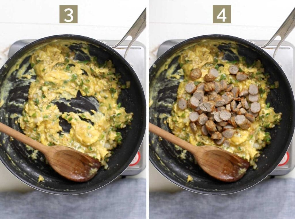 Step 3 shows scrambling the eggs, and step 4 shows adding in the sliced sausage.