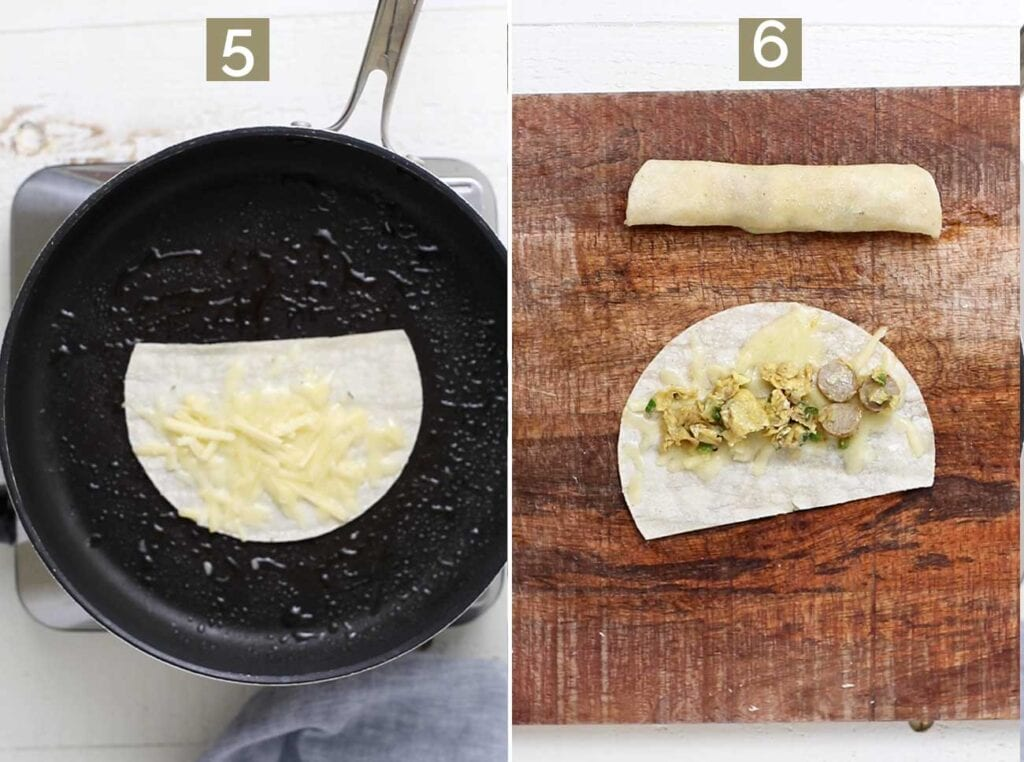Step 5 shows softening the tortillas and adding cheese.
