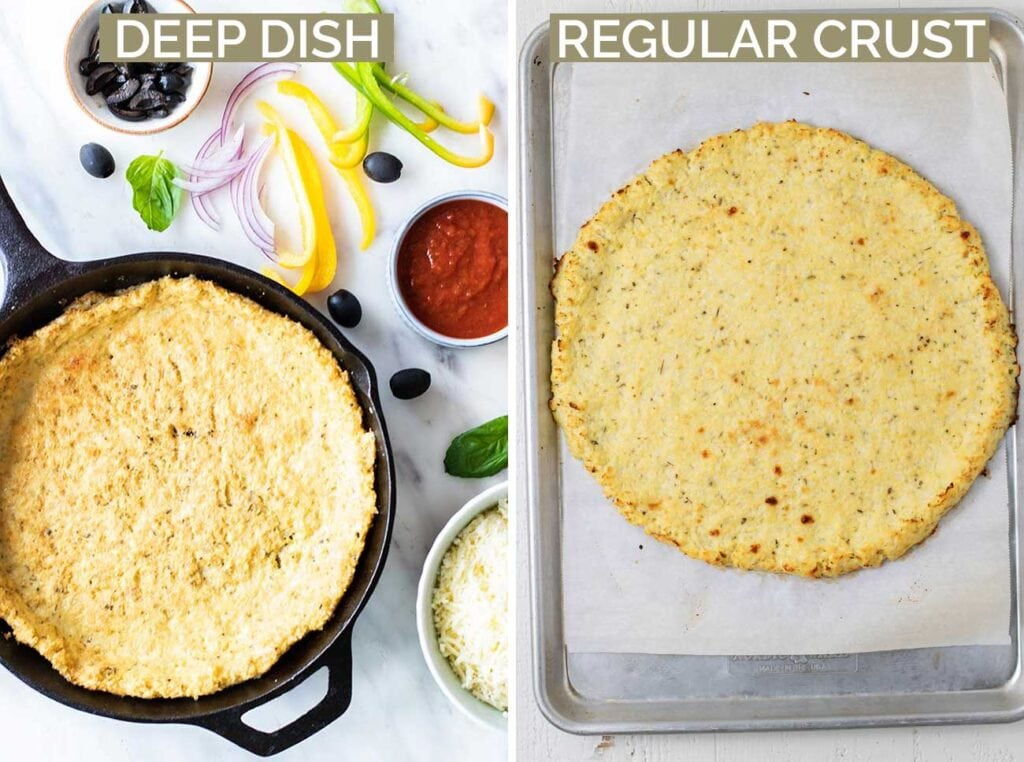 Two images showing a browned and baked cauliflower pizza crust ready to be topped.