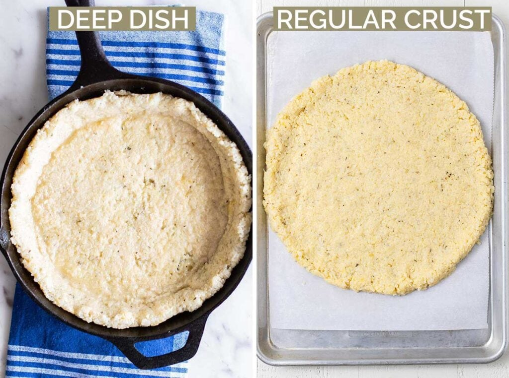 Two photos showing how to shape the crust of a cauliflower pizza crust in either a cast iron pan or on a baking tray.