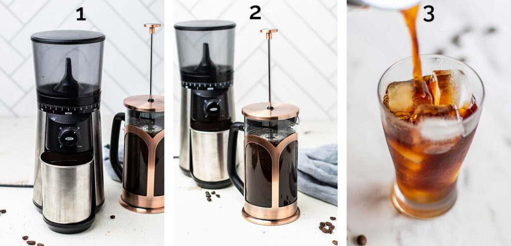 Step by step photos of how to make cold brew coffee.