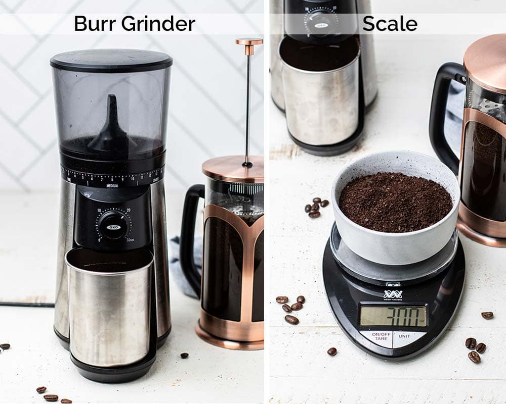 Shows a burr grinder and a food scale used to make cold brew.
