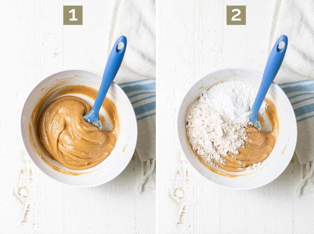 Step 1 shows mixing the cashew butter with the liquid ingredients, and step 2 shows adding the oat flour and arrowroot.