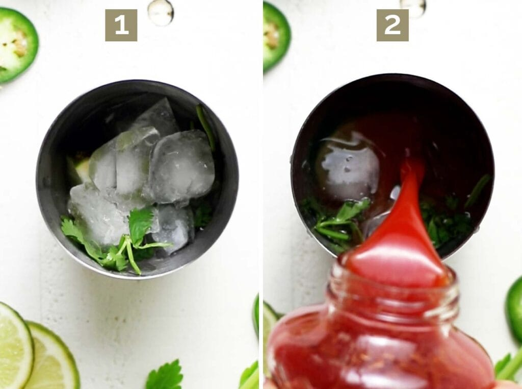 Step 1 shows muddling lime and cilantro with ice and tequila, and step 2 shows adding tomato juice and spices.