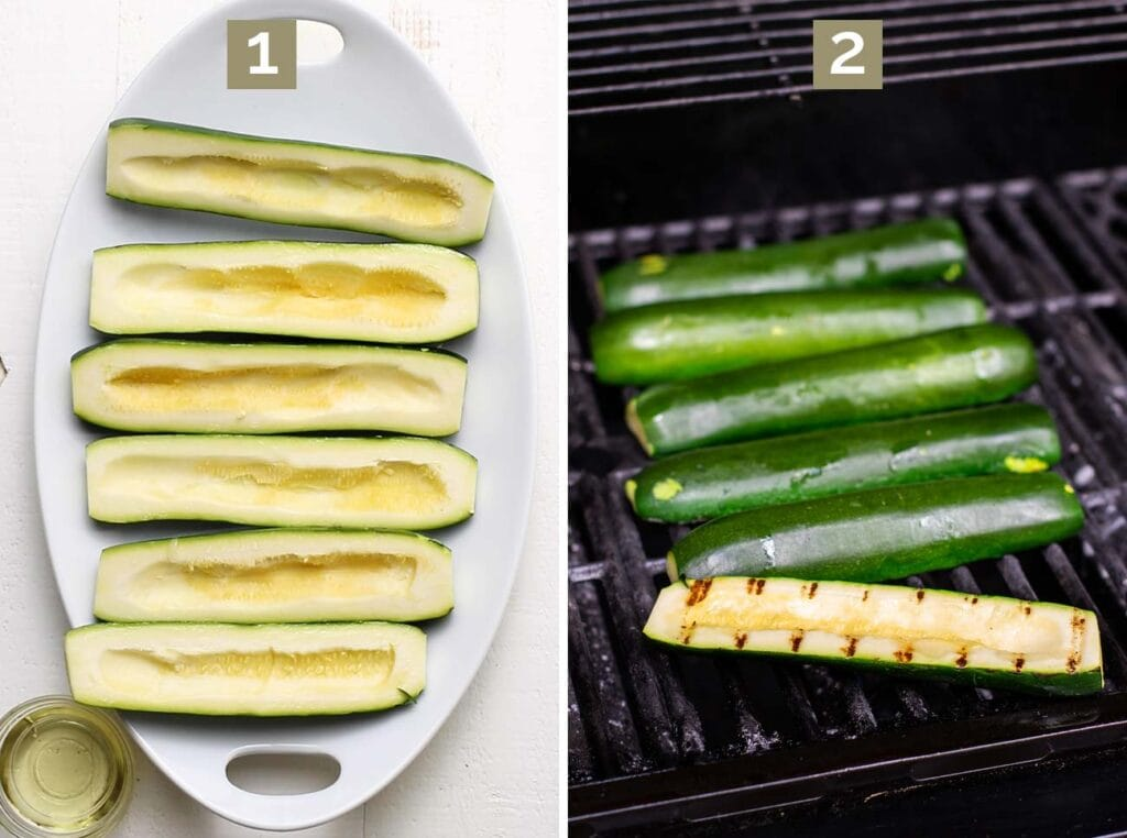 Step 1 shows slicing the zucchini lengthwise, and step 2 shows grilling the zucchini halves.