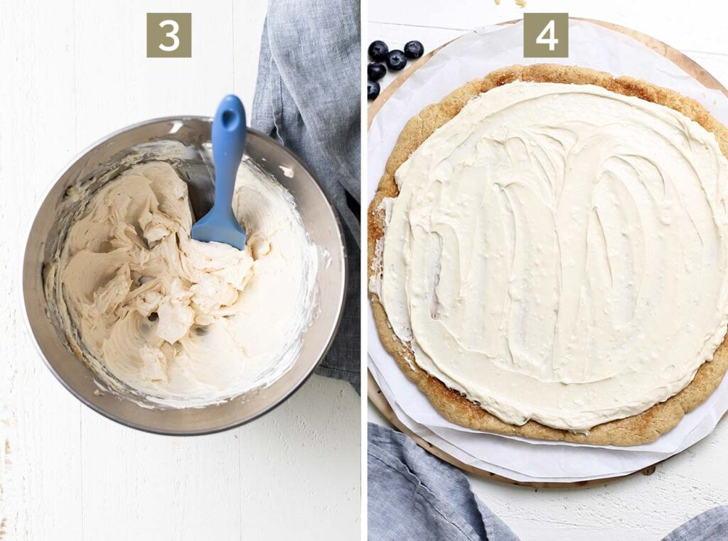 Step 3 shows making a cream cheese frosting, and step 4 shows frosting the chilled cookie.