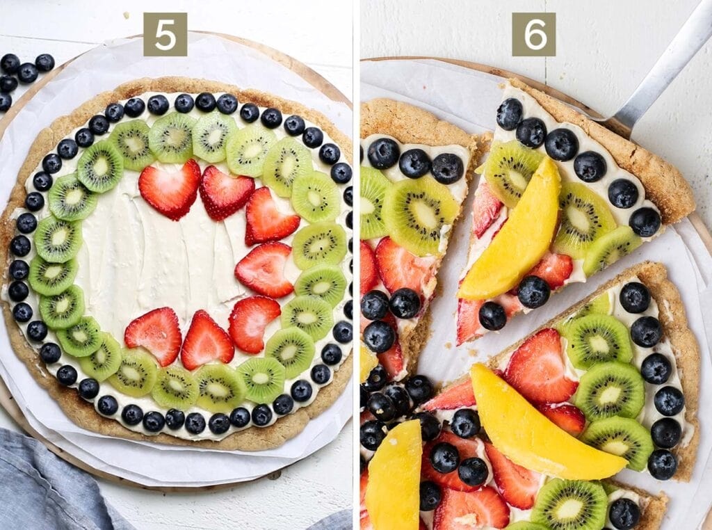 Step 5 shows topping the cookie with fruit, and step 6 shows slicing the fruit pizza.