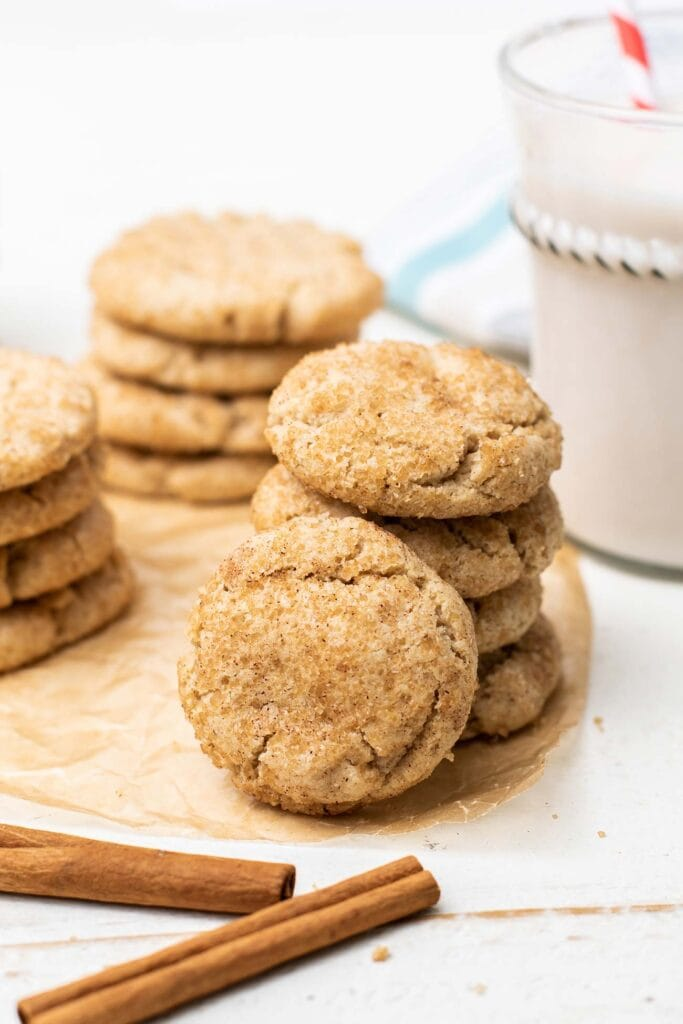 A photo showing how the snickerdoodles will look if you don't press them down into shape.