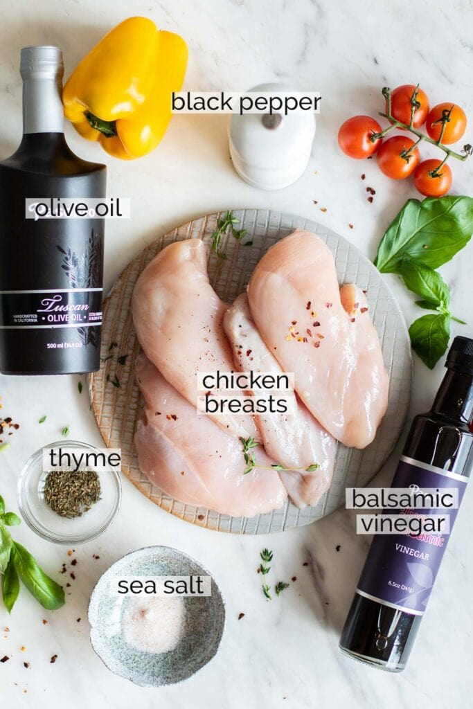 The ingredients needed to make balsamic chicken breasts.