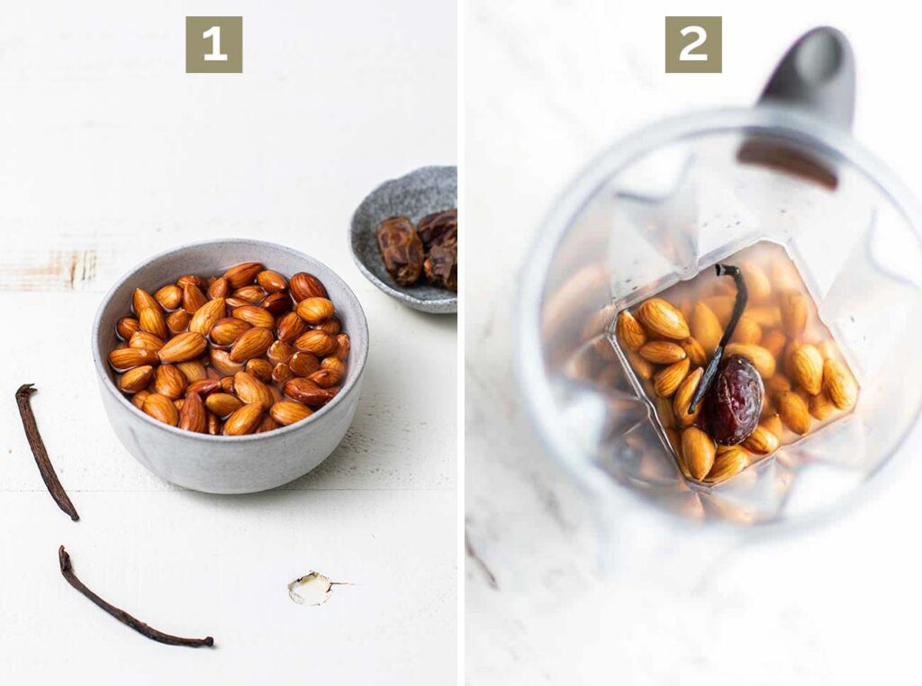 Step 1 shows soaking almonds and step 2 shows adding the almonds, water, vanilla bean, and date to a blender.