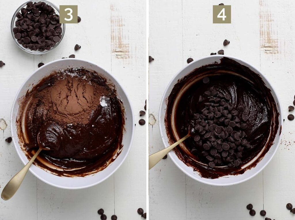 Step 3 shows adding cocoa powder and arrowroot powder, and step 4 shows adding chocolate chips.