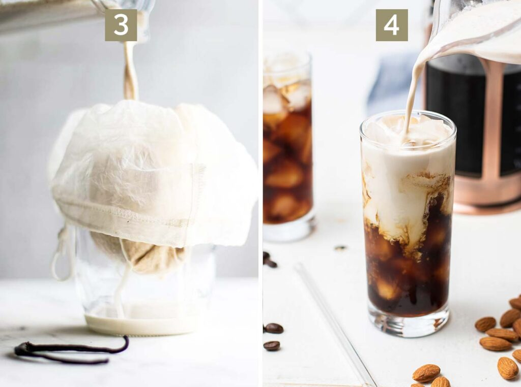 Step 3 shows straining the almond milk and step 4 shows mixing the iced coffee with the almond milk creamer.