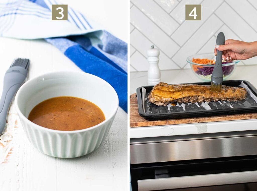 Step 3 shows making a mustard-based bbq sauce, and step 4 shows brushing the ribs with a thick layer of the sauce.