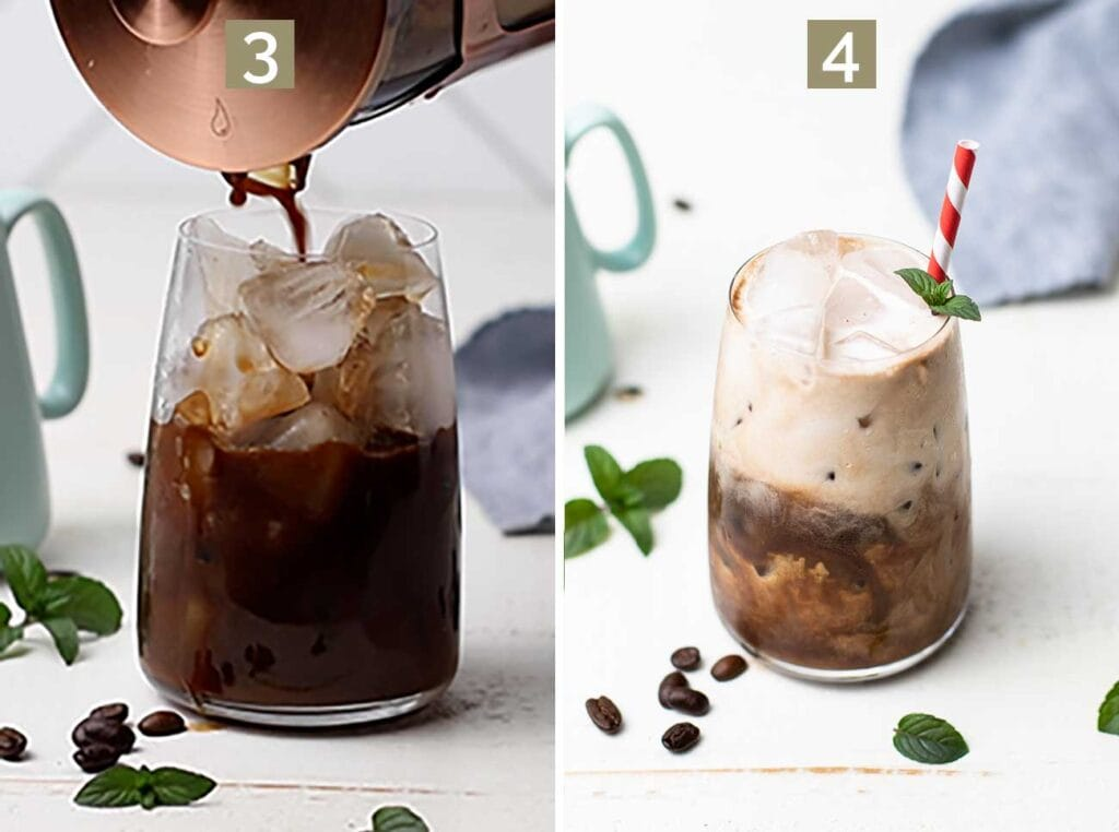 Step 3 shows pouring the mixture over ice, and step 4 shows adding coconut milk or milk or choice to the iced coconut milk mocha.