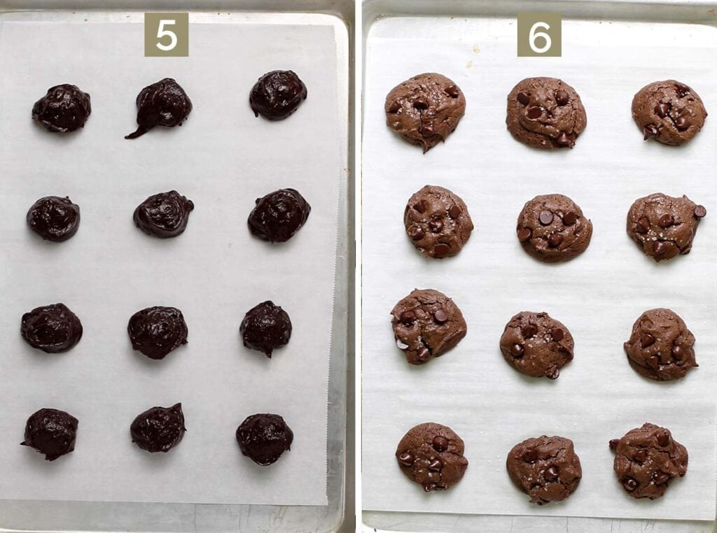 Step 5 shows to scoop the cookie dough in mounds on a baking tray, and step 6 shows the baked cookies.