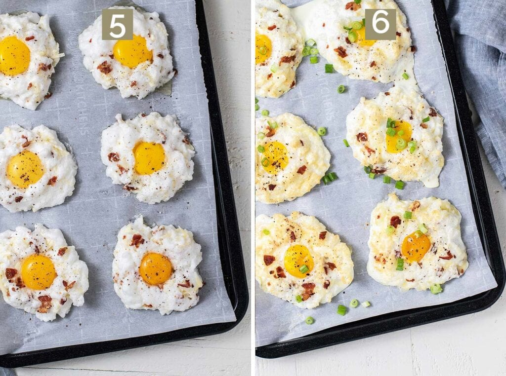 Step 5 shows to add the egg yolks back in to each egg cloud, and step 6 shows to bake the eggs.