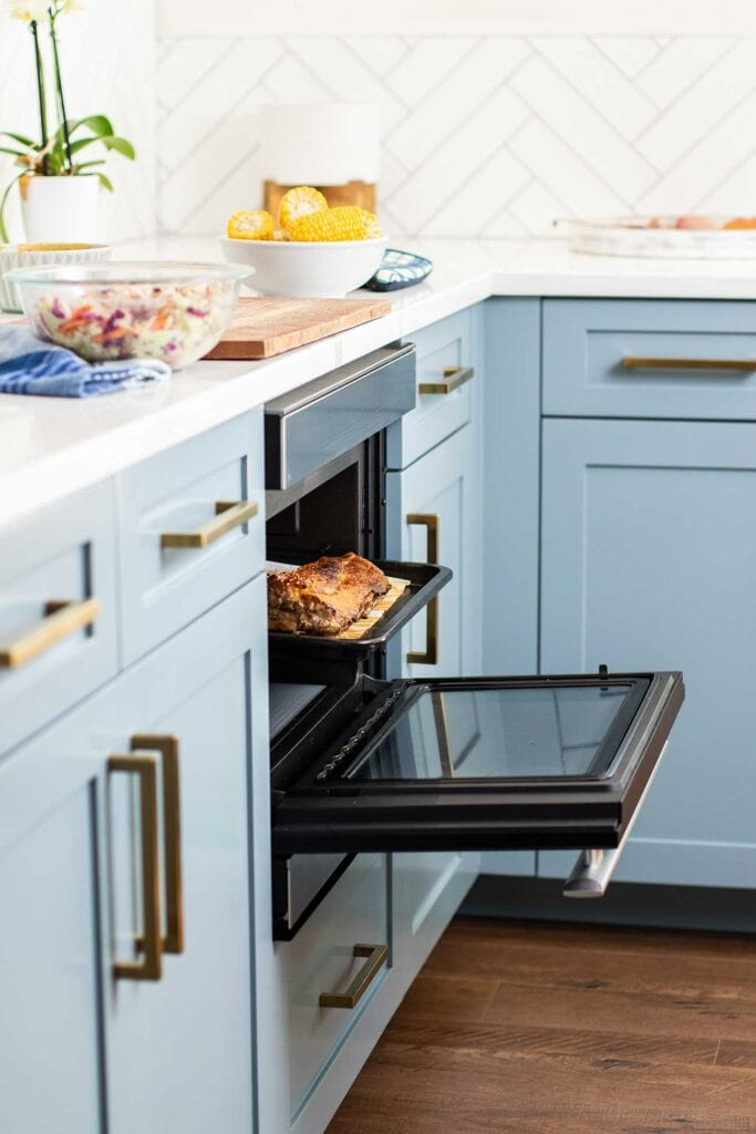 The Sharp SuperSteam+ Built in Wall oven baking ribs.
