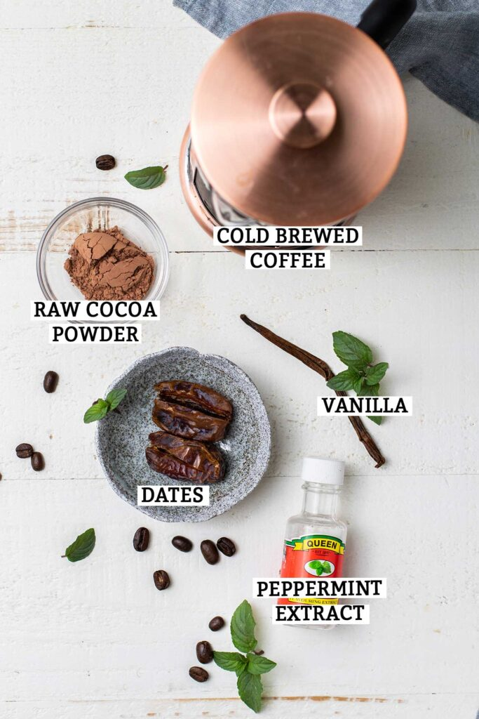 The ingredients needed to make a peppermint coconut milk iced mocha.