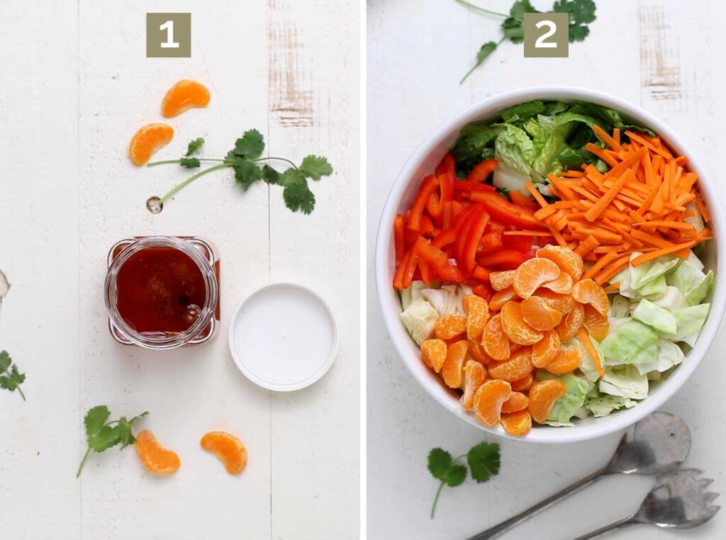 Step 1 shows combining the dressing ingredients and tossing to combine. Step 2 shows layering the veggies in a salad bowl.