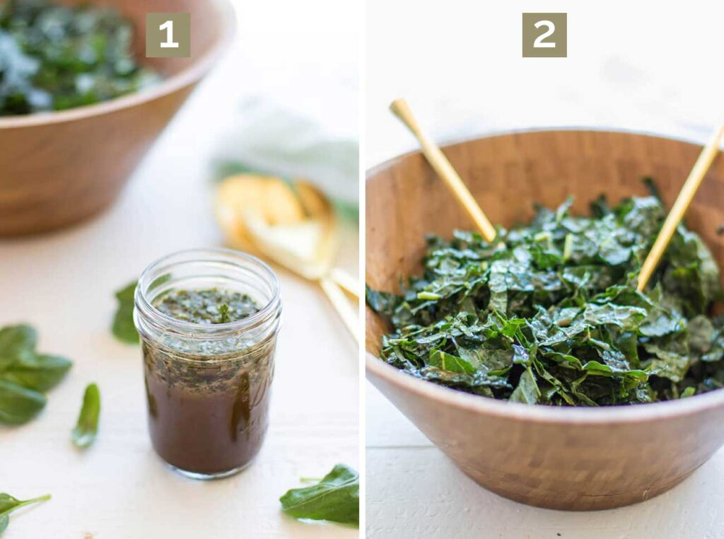 Step 1 shows to make the basil vinaigrette, and step 2 shows to massage the kale in the dressing.