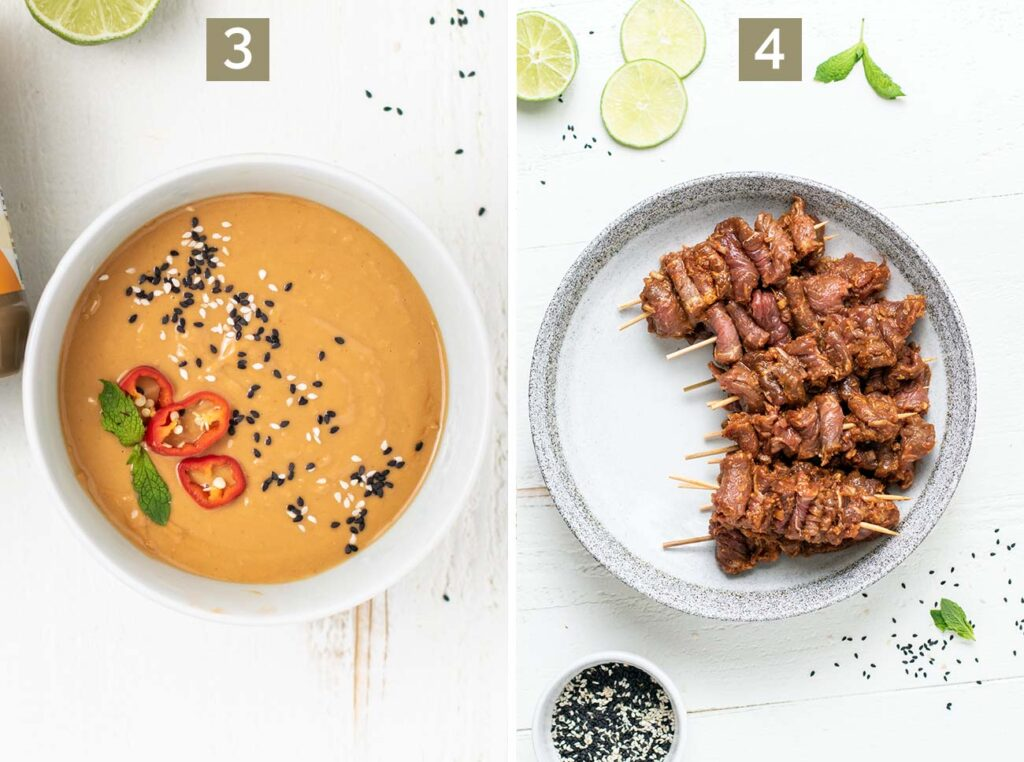 Step 3 shows making a creamy satay dipping sauce, and step 4 shows threading the beef on bamboo skewers.