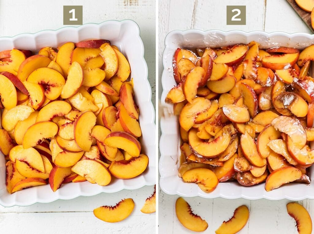 Step 1 shows slicing the peaches thinly, and step 2 shows adding the thickener and sweetener to the peaches and baking them.