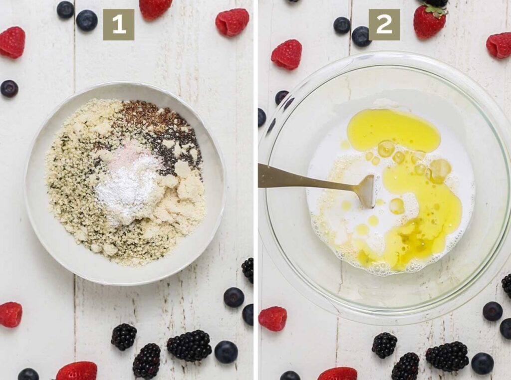 Step 1 shows to combine the dry ingredients, and step 2 shows whisking the wet ingredients in a separate bowl.