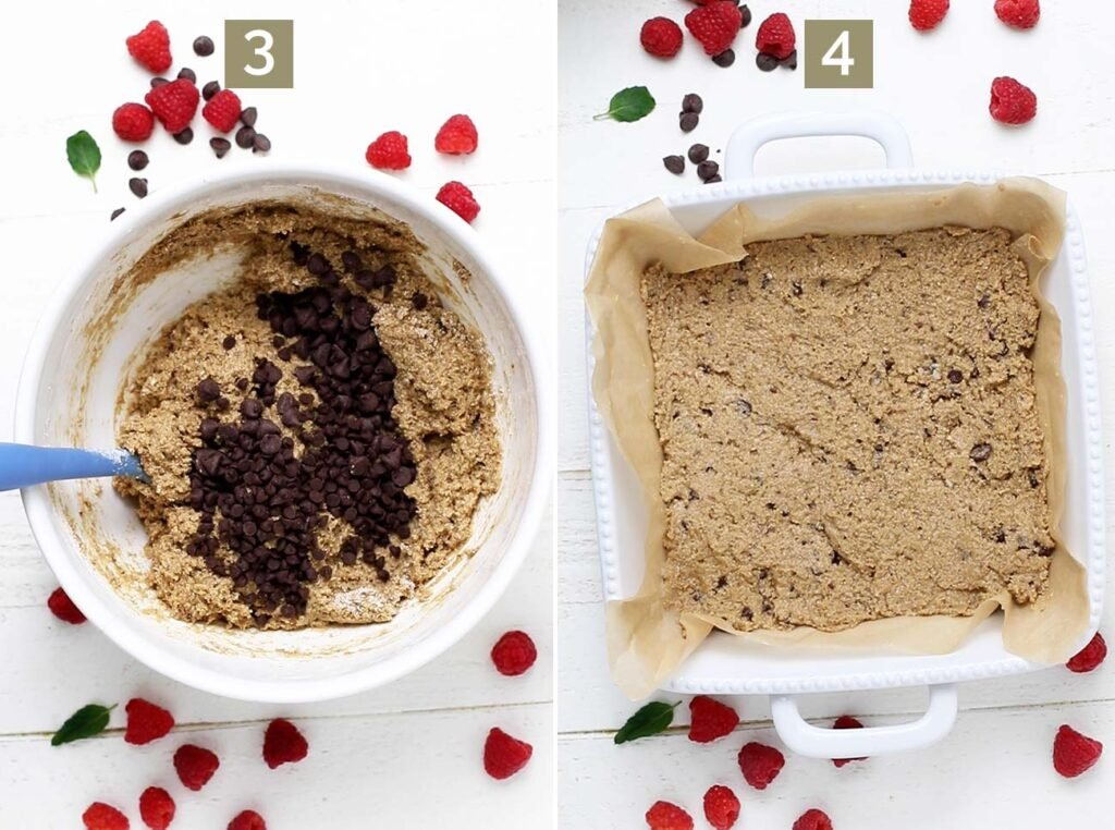 Fold in chocolate chips to the batter, and step 4 shows to press half the dough into a prepared baking dish.