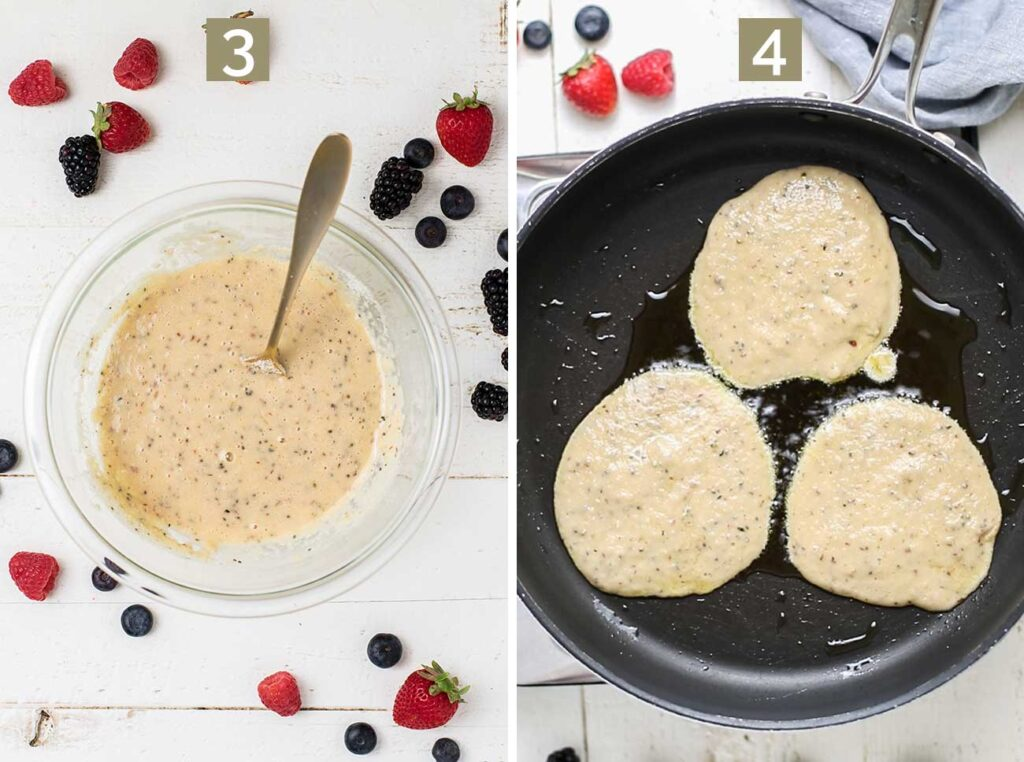 Step 3 shows mixing the wet and dry ingredients, and step 4 shows adding the pancake batter to a hot, greased skillet.