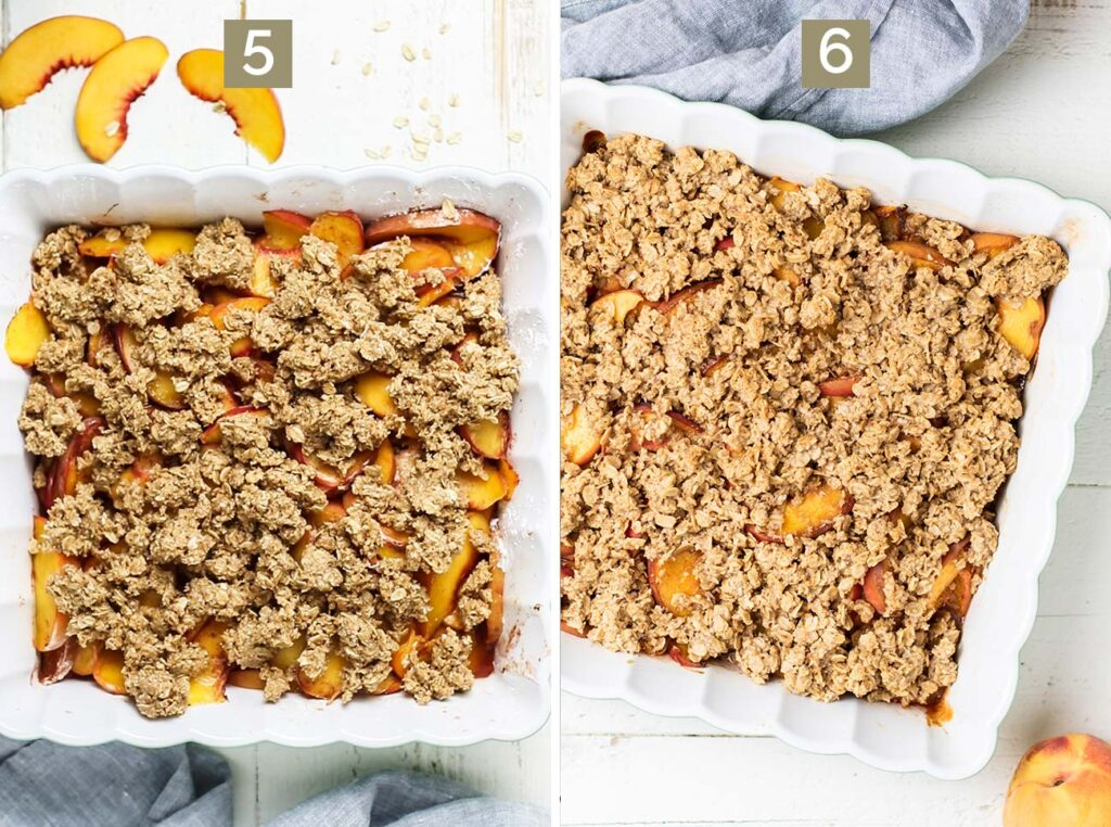 Step 5 shows adding the crumble topping, and step 6 shows the baked crisp.