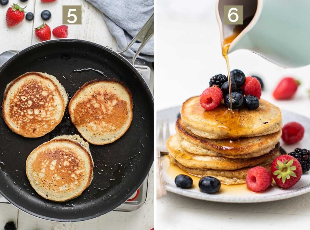 Step 5 shows flipping the pancakes once they started to bubble and turn golden. brown, and step 6 shows garnishing the pancakes with berries and maple syrup.