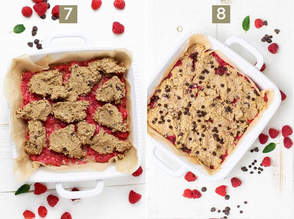 Step 7 shows to carefully place the cookie dough on top of the raspberry layer, and step 8 shows to bake the oatmeal cookie bars.