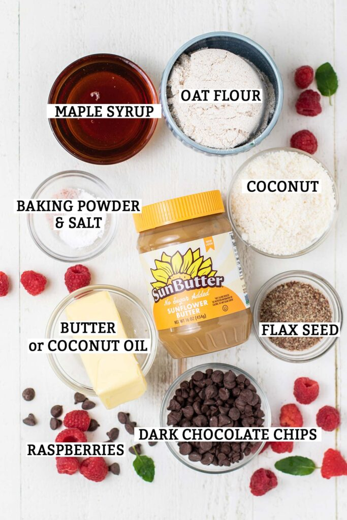 The ingredients needed to make sunbutter oatmeal cookie bars with a raspberry filing.