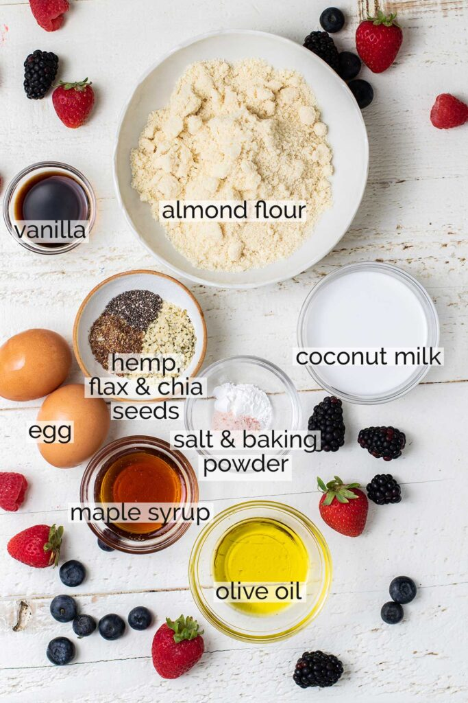 The ingredients needed for the best Almond Flour Pancakes.