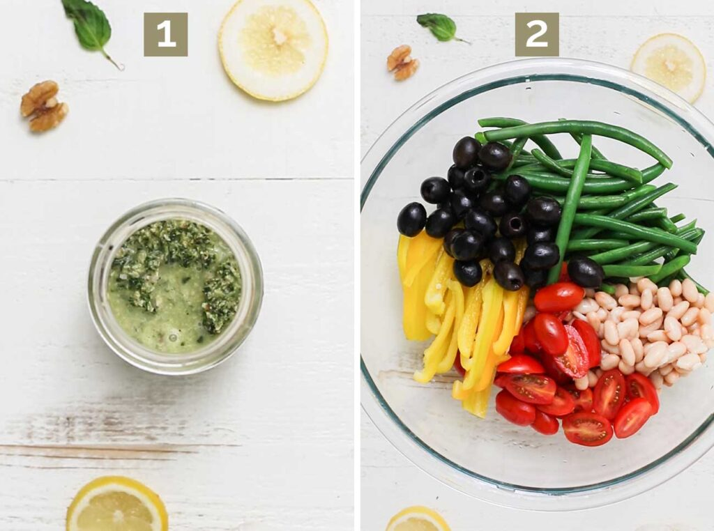 Step 1 shows to make a pesto vinaigrette, and step 2 shows to add all the prepared veggies to a large salad bowl.