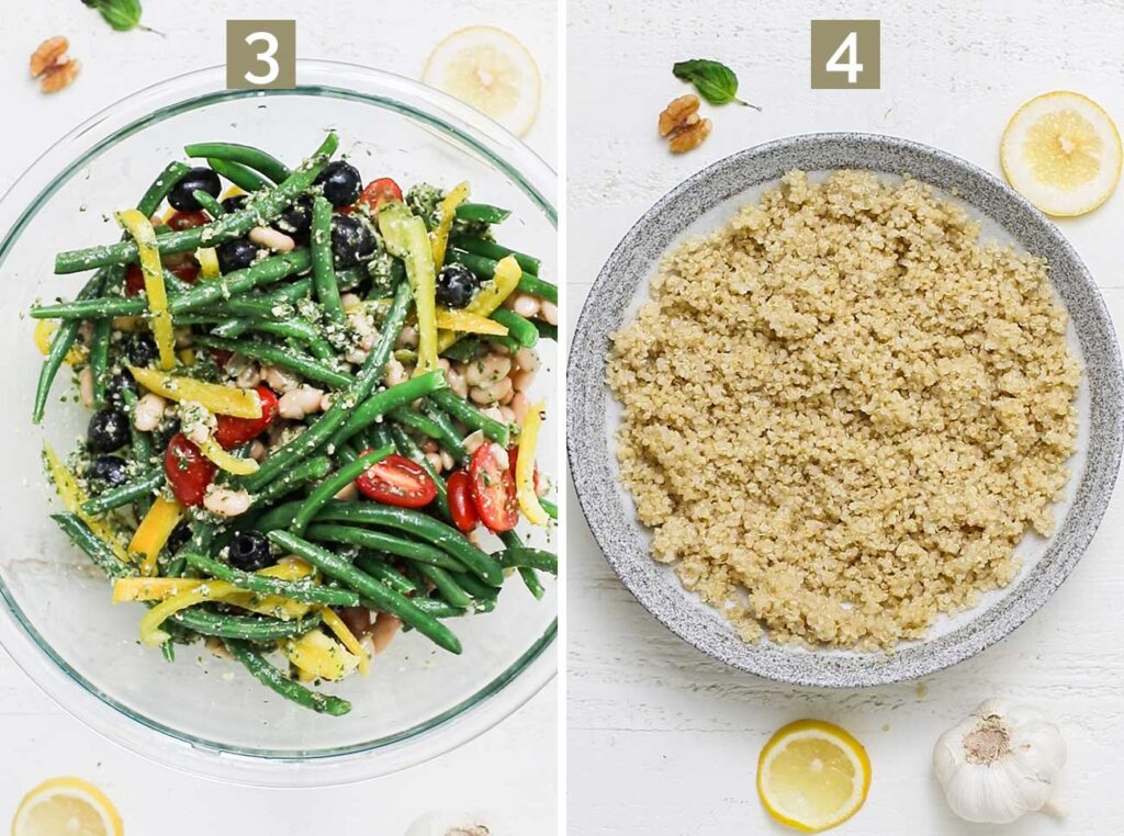 Step 3 shows to toss the veggies with the pesto vinaigrette, and step 4 shows to add quinoa to a serving dish.
