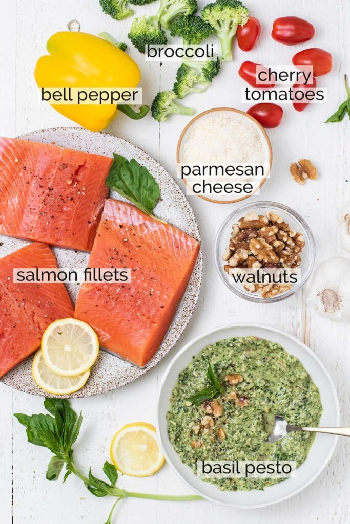 A photo showing the 5 simple ingredients needed to make this special baked salmon recipe.