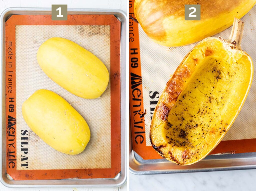 Step 1 shows to place the squash flesh down on a baking pan, and step 2 shows to bake it for 45 minutes.